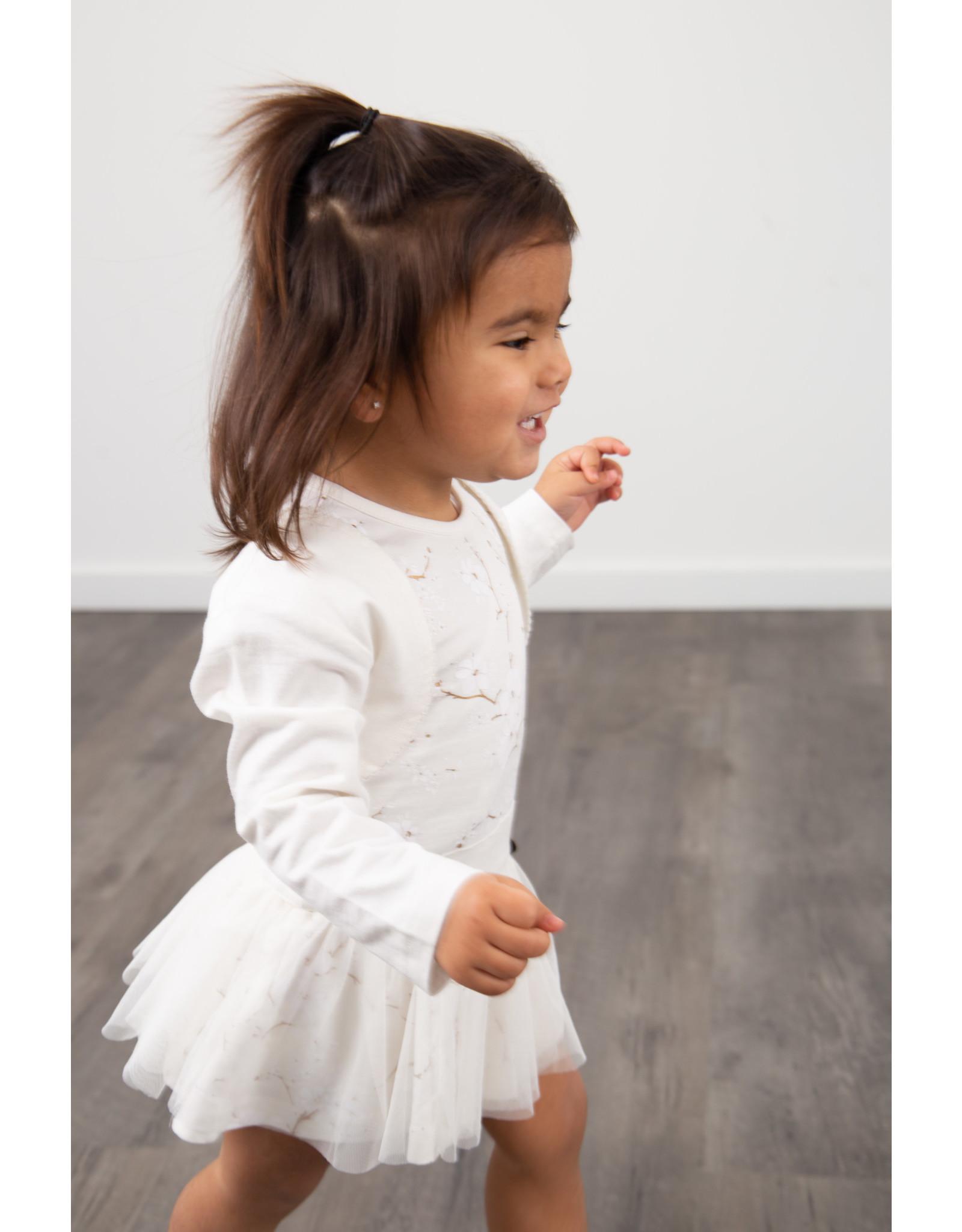 LoFff LoFff baby meisjes mouwloze jurk Carol Off White Gold