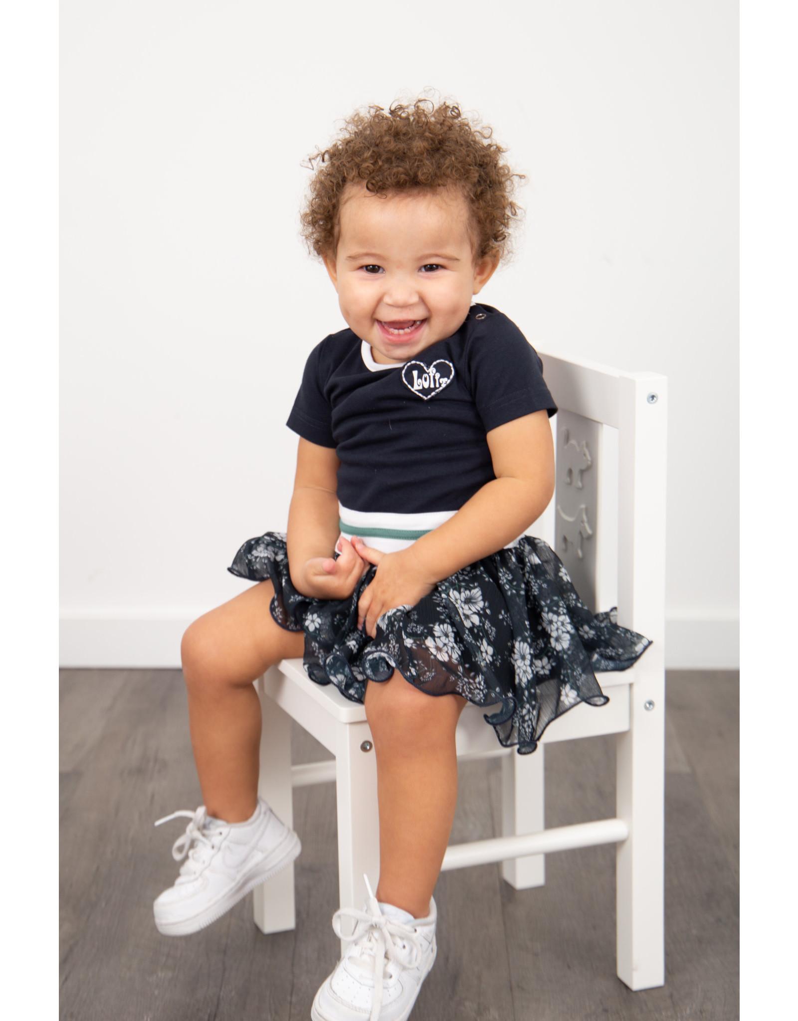 LoFff LoFff baby meisjes korte mouwen jurk Dancing Blue Flower