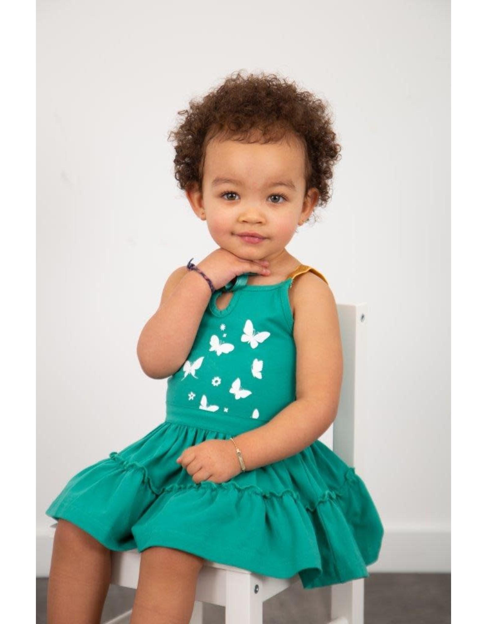 LoFff LoFff baby meisjes mouwloze jurk Fancy Ocean Green