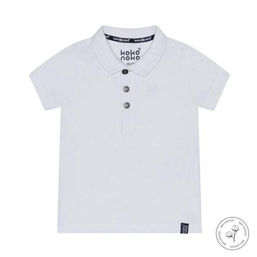 Koko Noko Koko Noko jongens Bio Cotton polo t-shirt Noah White