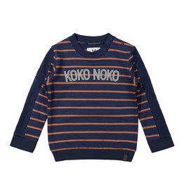 Koko Noko Koko Noko jongens gestreepte sweater Navy Camel