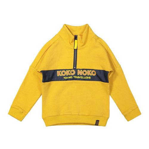 Koko Noko Koko Noko jongens sweater met rits Ochre