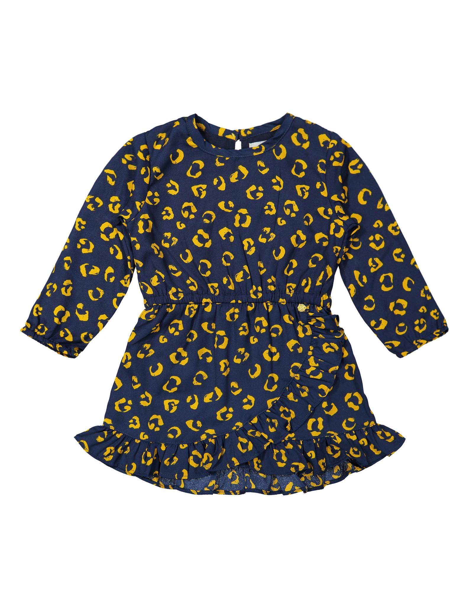 Koko Noko Koko Noko meisjes jurk met panterprint Navy Ochre