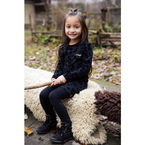 Koko Noko Koko Noko meisjes jurk met panterprint Black