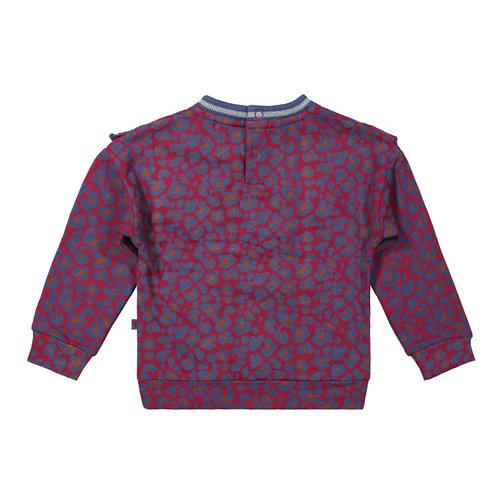 Dirkje Dirkje baby meisjes sweater met rouches Burgundy aop