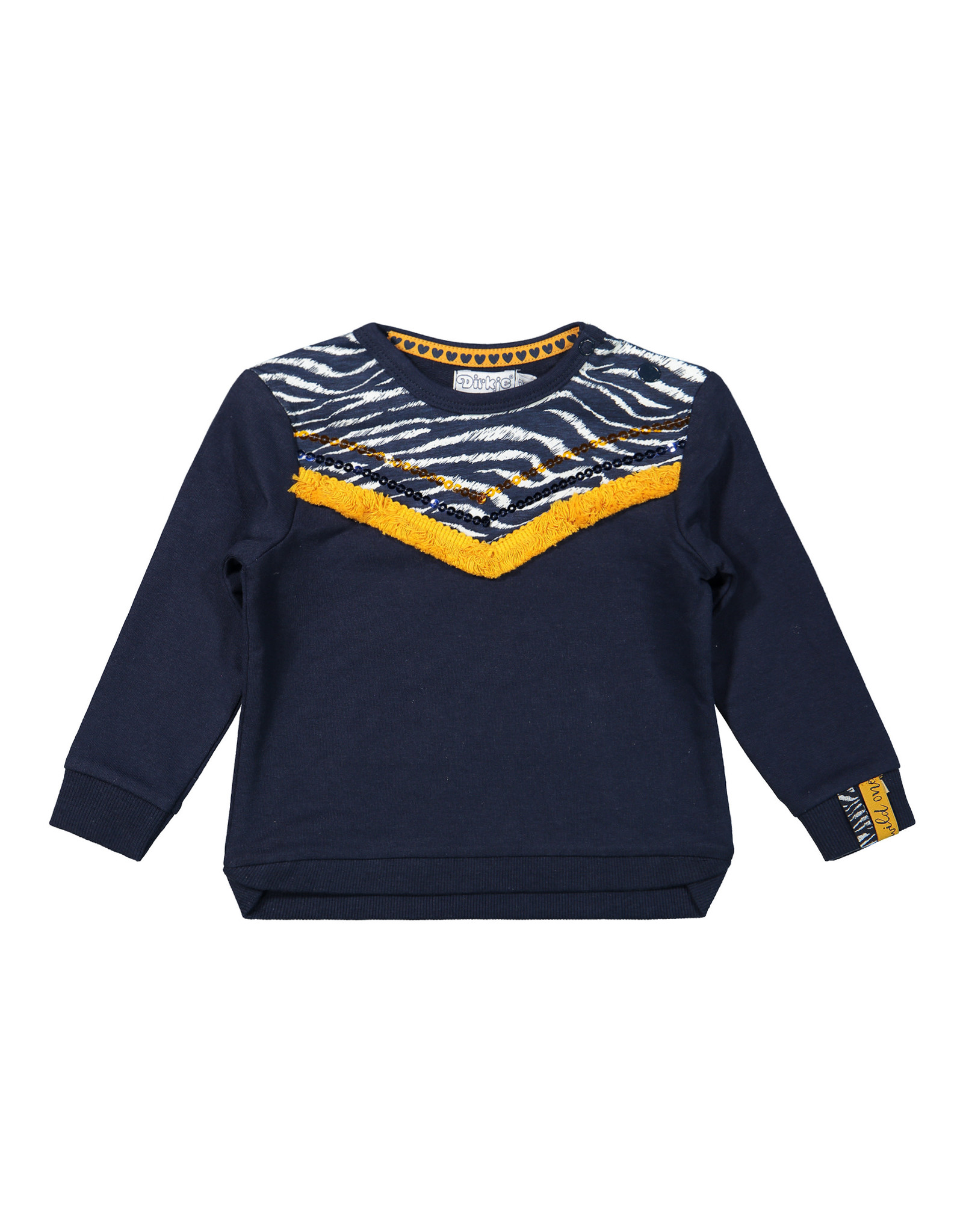 Dirkje Dirkje baby meisjes sweater met V print Navy Off White