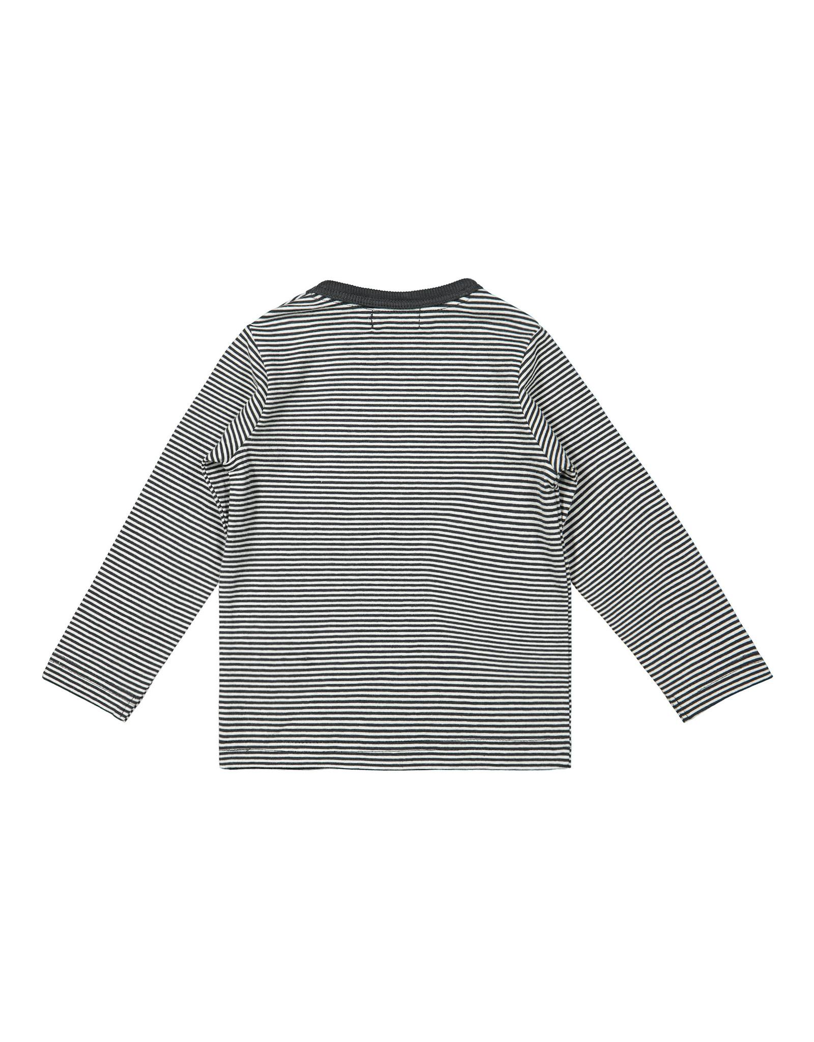 Dirkje Dirkje baby jongens shirt Lead the Other Anthrasite Off White Stripe
