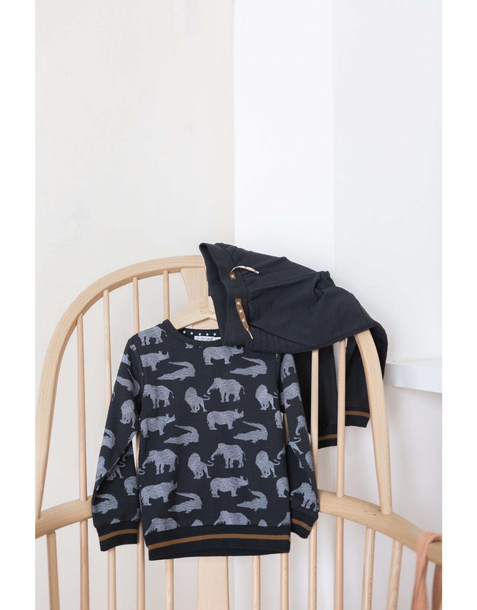Dirkje Dirkje baby jongens sweater Animals Anthracite Off White