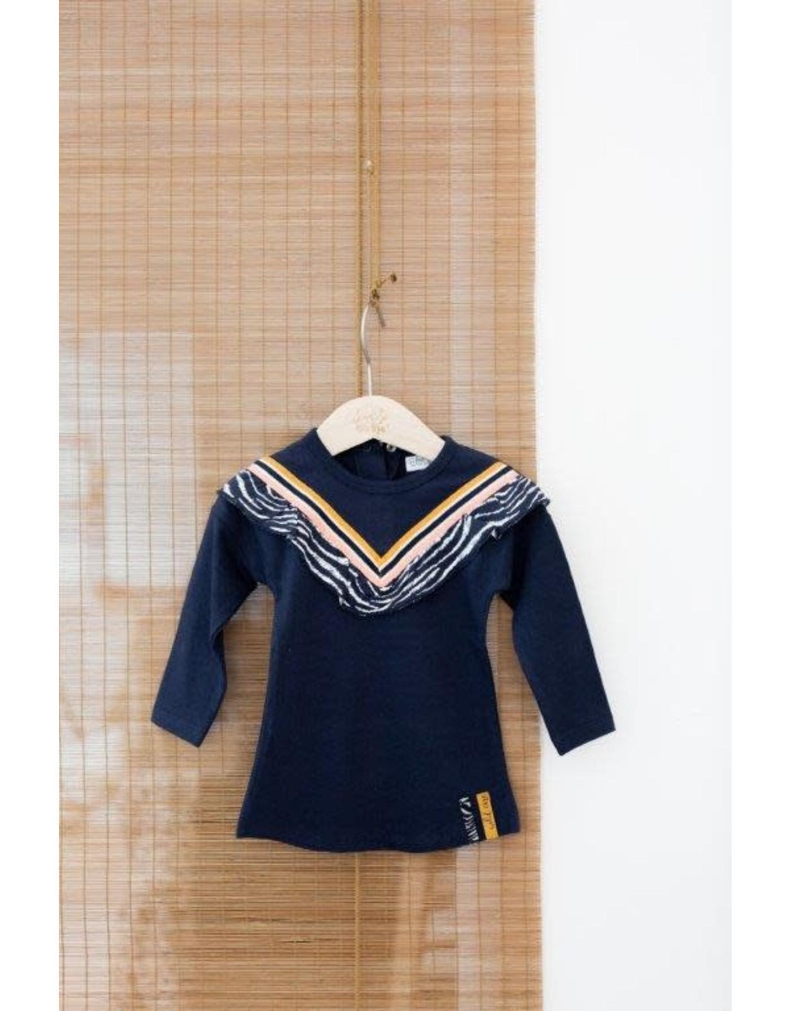 Dirkje Dirkje baby meisjes jurk met V bies en rouches Navy