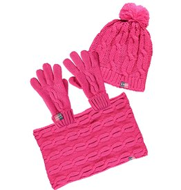 B.Nosy B.Nosy meisjes winterset muts, sjaal en handschoenen Beetroot Pink