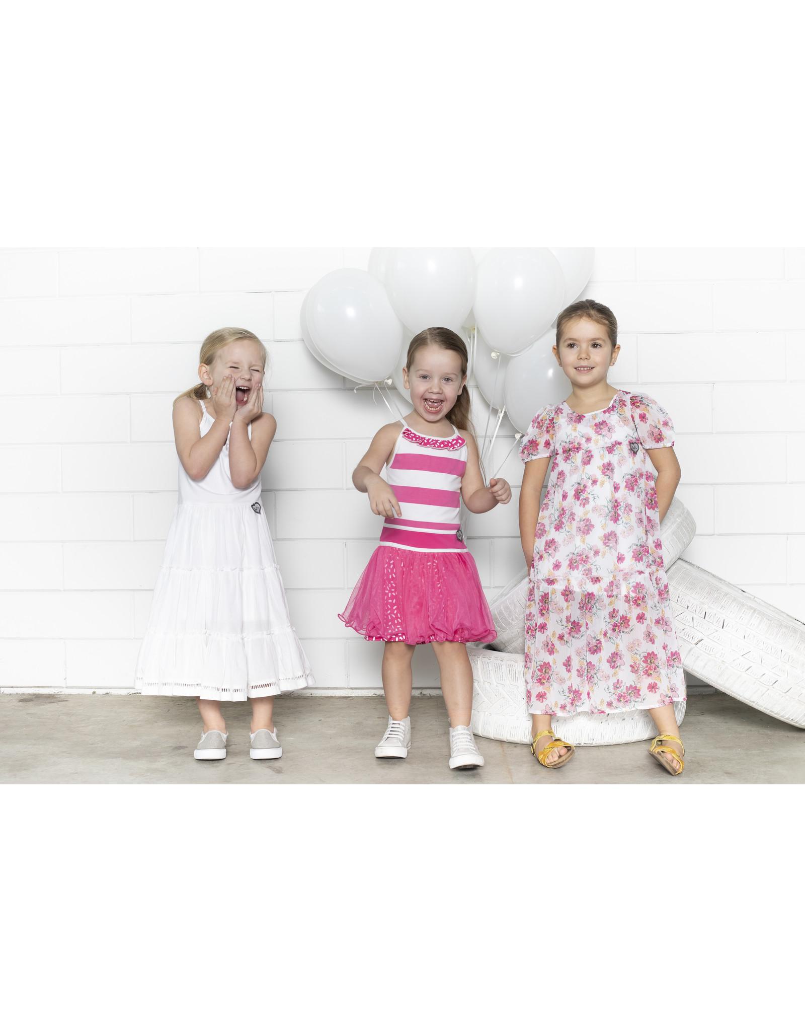 LoFff LoFff meiden korte mouwen jurk Puffy Multiflower White