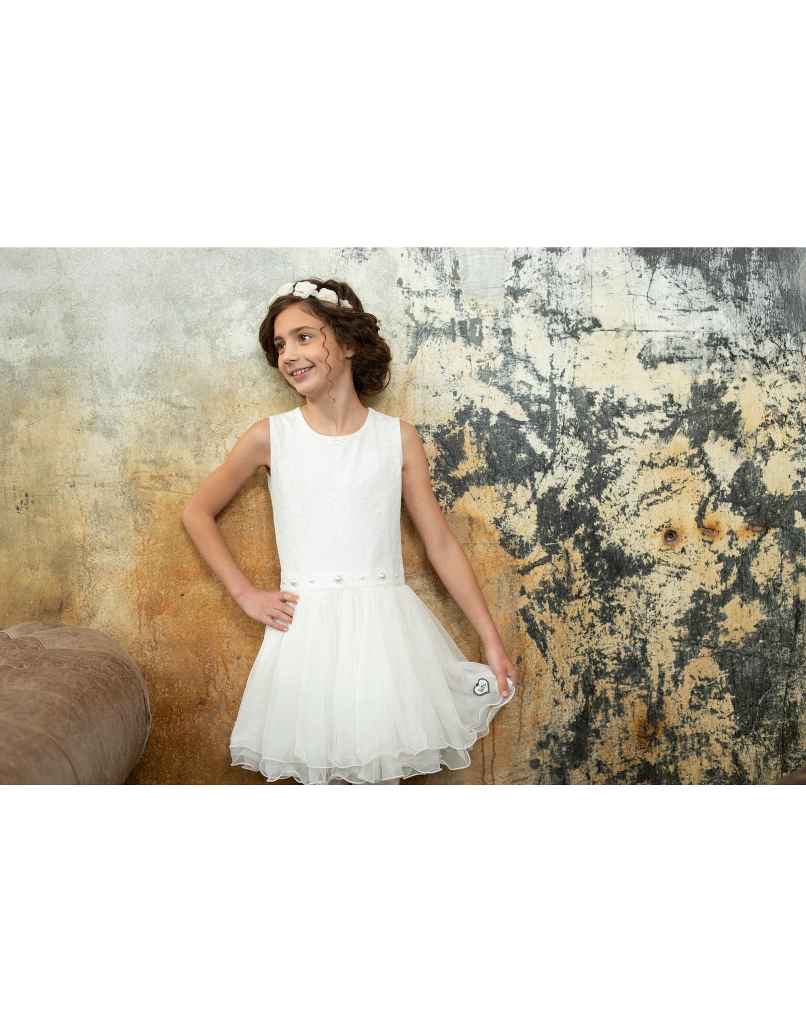 LoFff LoFff meiden korte mouwen jurk Cerissa Off White