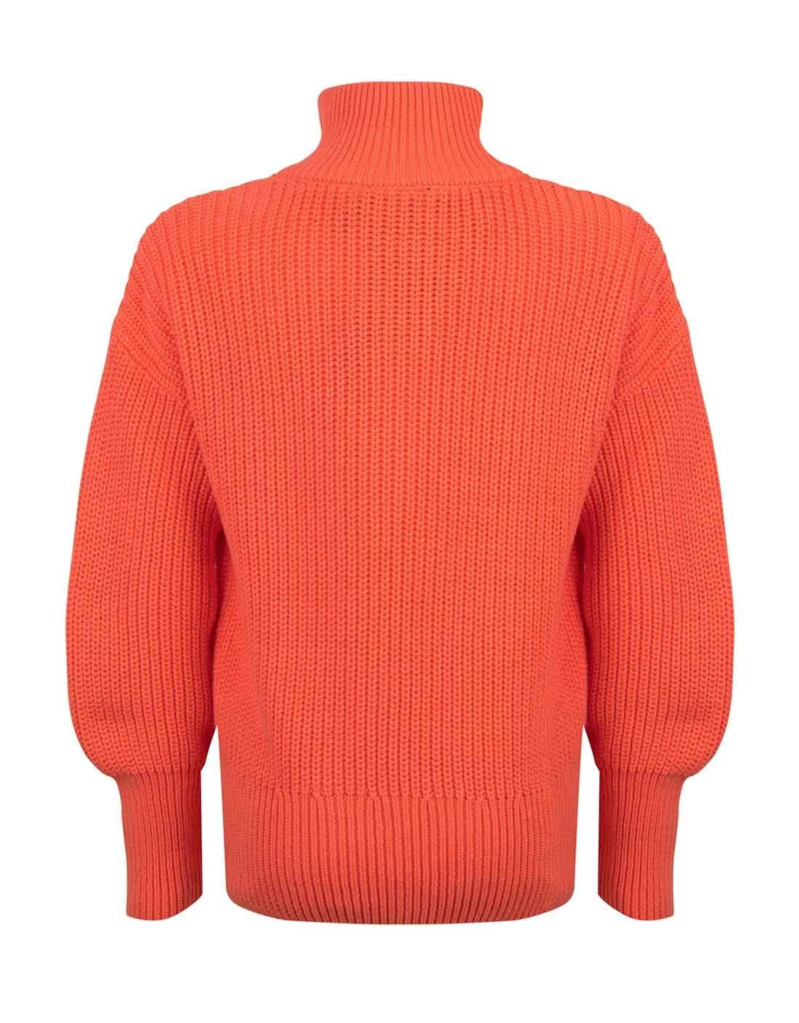 Indian Blue Jeans Indian Blue meiden gebreide sweater met rits Warm Coral