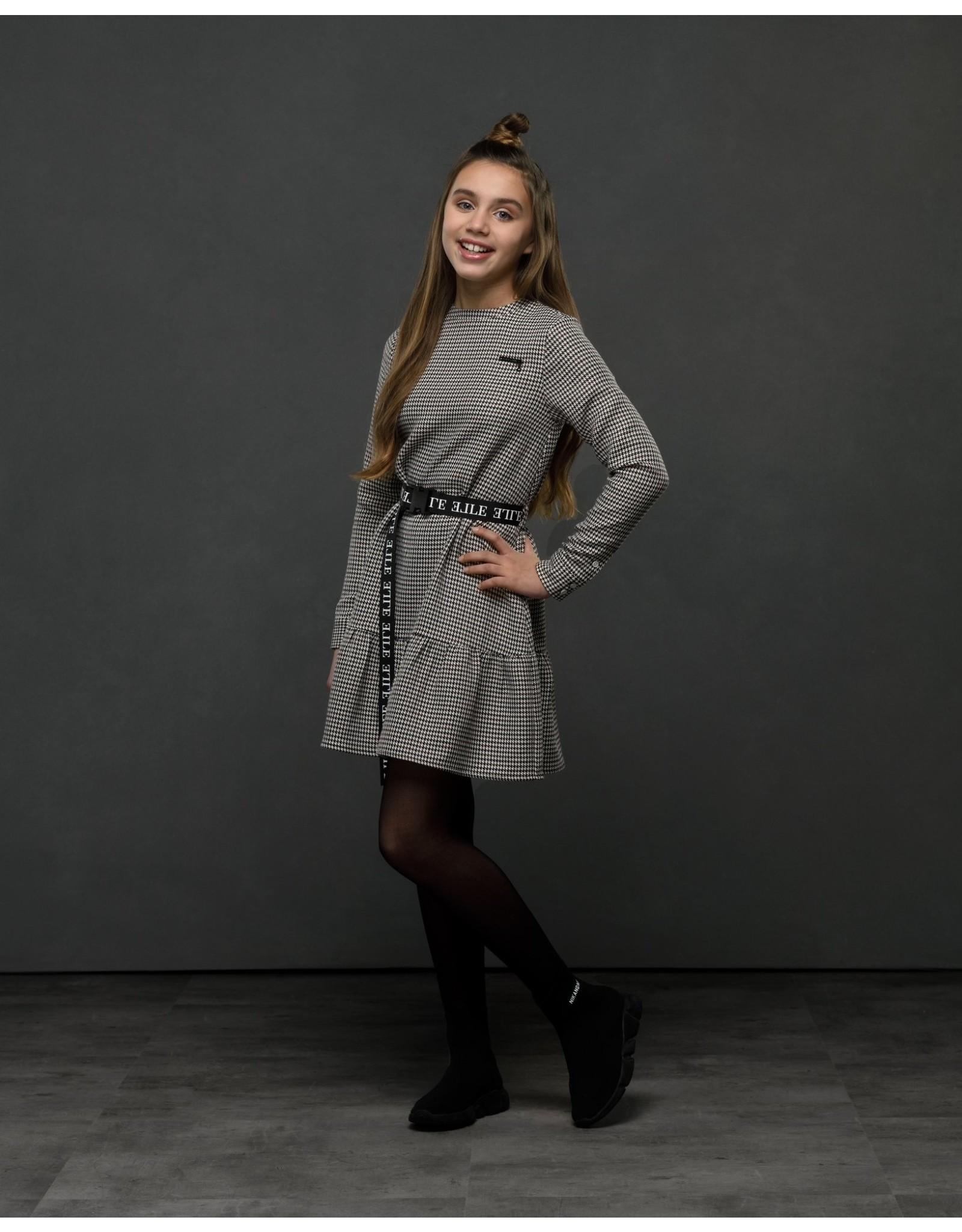 Elle Chic Elle Chic meiden pied de poule jurk Sydney Cinnamon