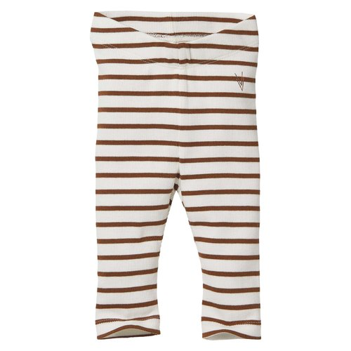 LEVV Levv newborn baby meisjes legging Beau aop Brown Almond Stripe