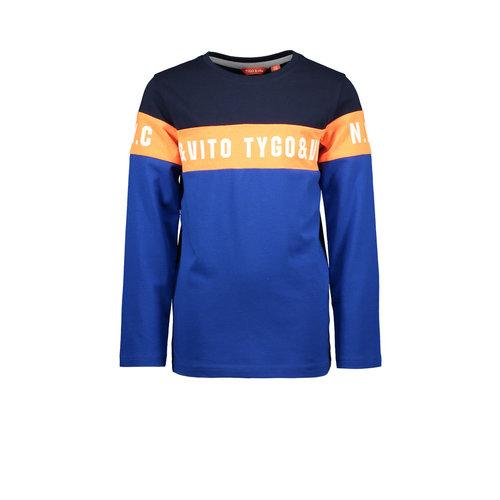 TYGO & vito TYGO & vito jongens shirt logo colorblock Classic Blue