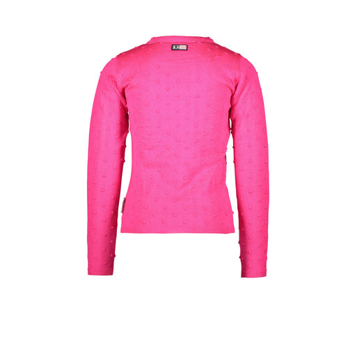 B.Nosy B.Nosy meisjes shirt met gebreide bolletjes Pink Glo