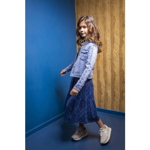 B.Nosy B.Nosy meisjes spijkerjack Denim Blue met elastiek op de rug