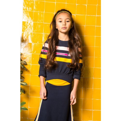 B.Nosy B.Nosy meisjes sweater Stripes Ink Blue