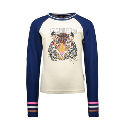 B.Nosy B.Nosy meisjes Raglan shirt met Tigerprint Cotton