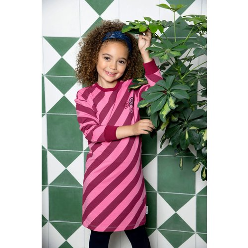 B.Nosy B.Nosy meisjes gestreepte sweat jurk Youth Big Stripe