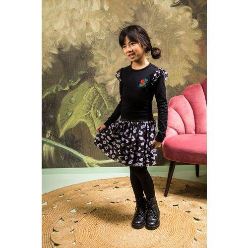 B.Nosy B.Nosy meisjes jurk met rouches Leopard Black
