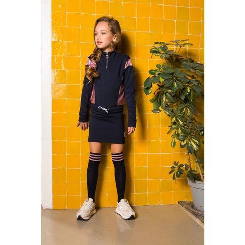 B.Nosy B.Nosy meisjes sweat jurk met rits Colorblock Ink Blue