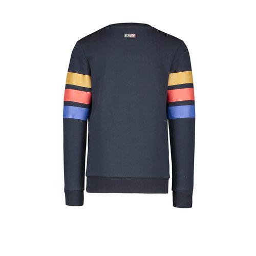 B.Nosy B.Nosy jongens sweater met 3 Colored Stripes Ink Blue