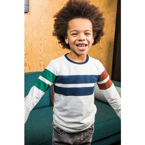 B.Nosy B.Nosy jongens sweater met verschillende kleuren strepen Cotton