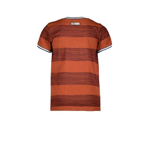 B.Nosy B.Nosy jongens t-shirt horizontal printed stripes Brique