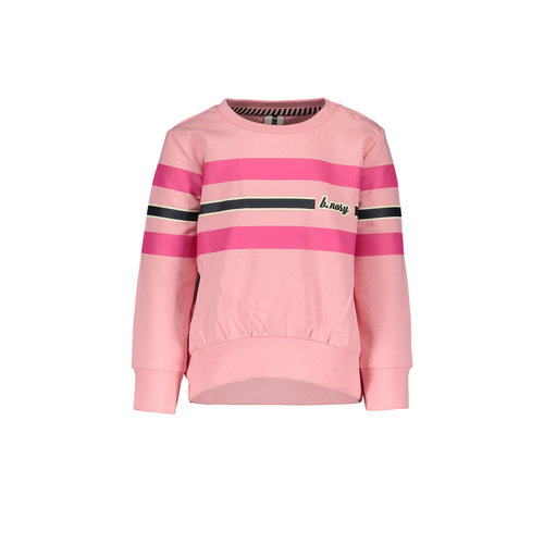 B.Nosy B.Nosy baby meisjes sweater met strepen Punch Pink