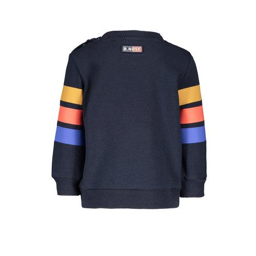 B.Nosy B.Nosy baby jongens sweater met 3 Colored Stripes Ink Blue