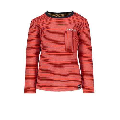 B.Nosy B.Nosy baby jongens t-shirt Empire Stripes Poppi Red