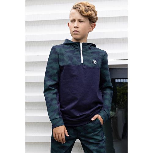 Bellaire Bellaire jongens hoodie met rits en camo aop Navy Blazer