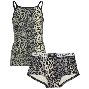 Vingino Vingino meiden ondergoed set met hemd Animal Deep Black