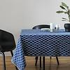 ESKIMO deken/tafellaken linnen & biokatoen - blauw en wit