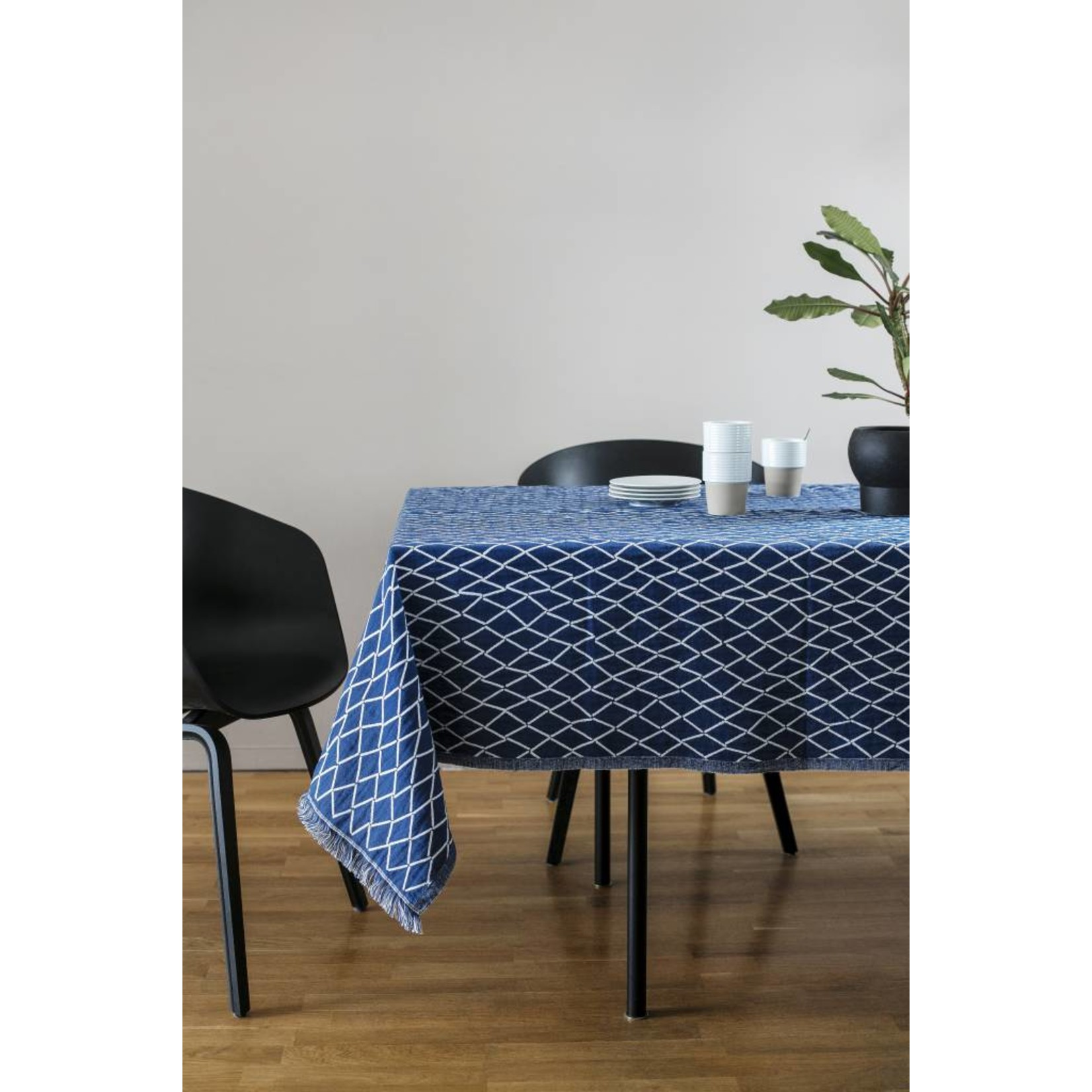 Lapuan Kankurit ESKIMO tafellaken & deken linnen & biokatoen - blauw en wit