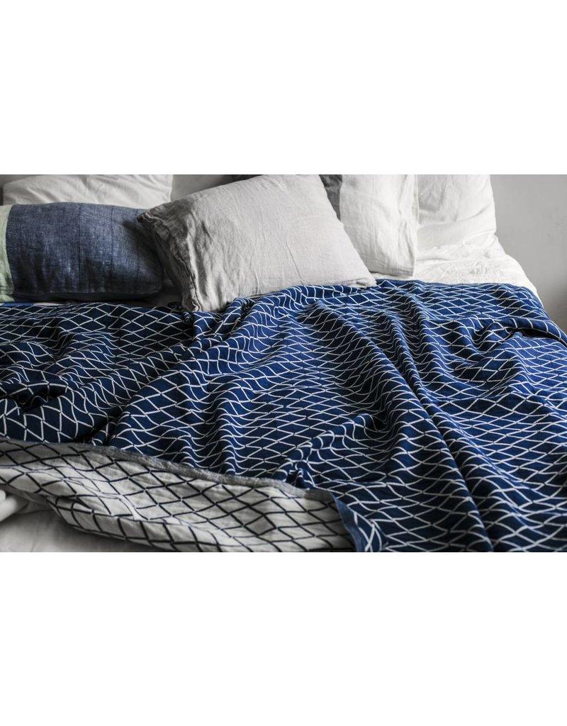 Lapuan Kankurit ESKIMO blanket/tablecloth linen & organic cotton - blue & white
