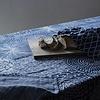 RUUT deken/tafellaken linnen & biokatoen - blauw & wit