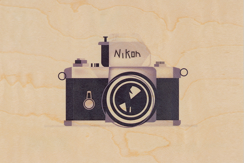 WOODHI postcard made of wood - Camera