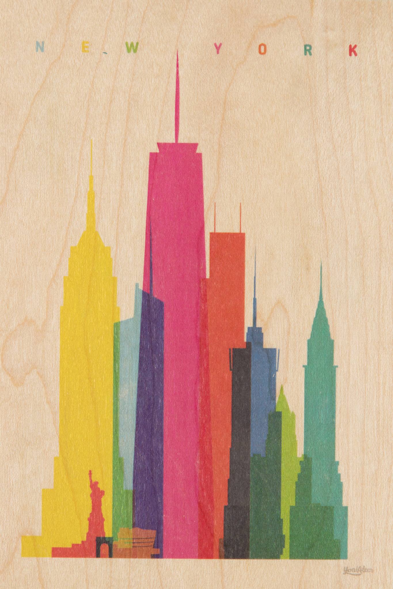 WOODHI postcard made of wood - New York