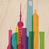 WOODHI postkaart van hout - Shanghai