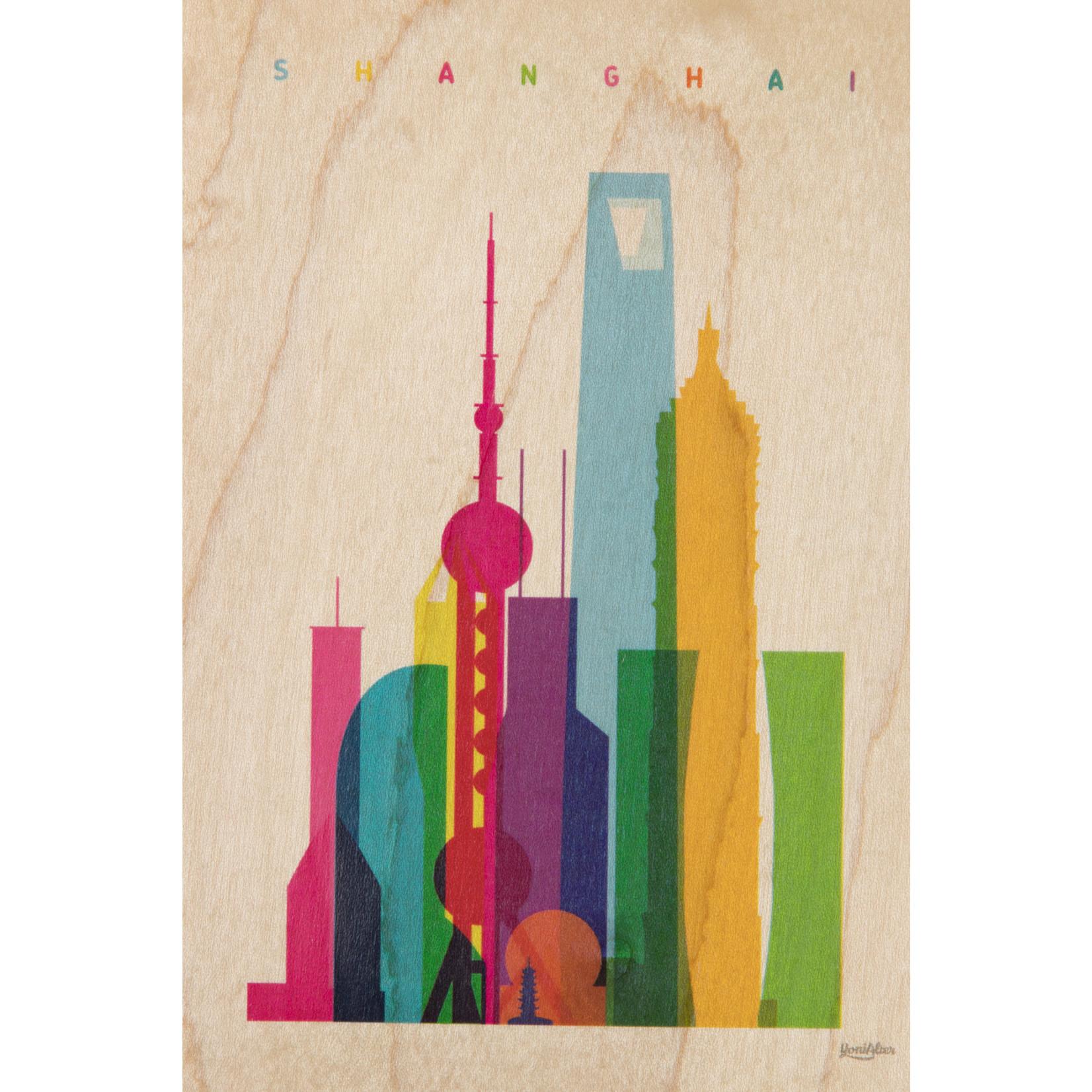 woodhi WOODHI postkaart van hout - Shanghai