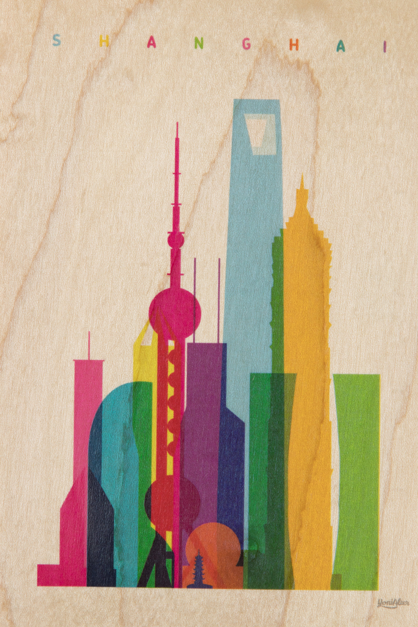 WOODHI postcard made of wood - Shanghai