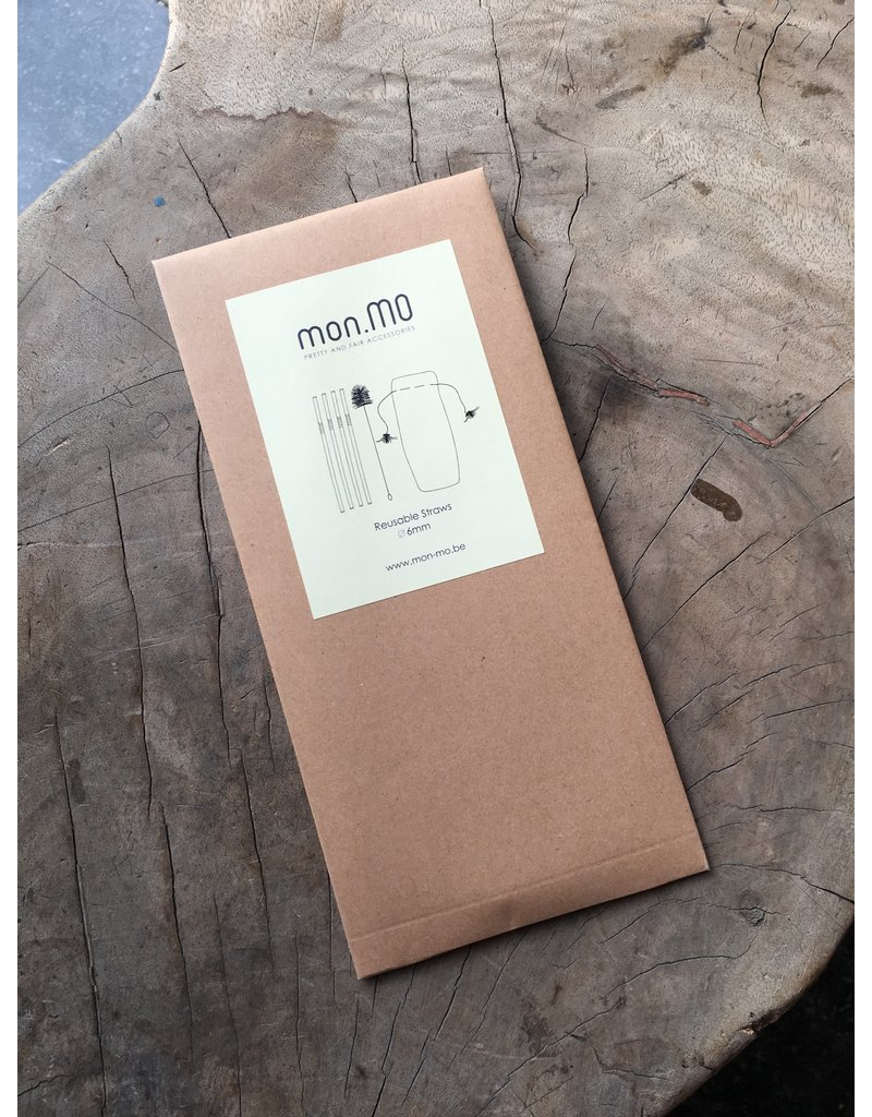 mon.MO mon.MO Reusable Straws - 4 pack with brush & pouch