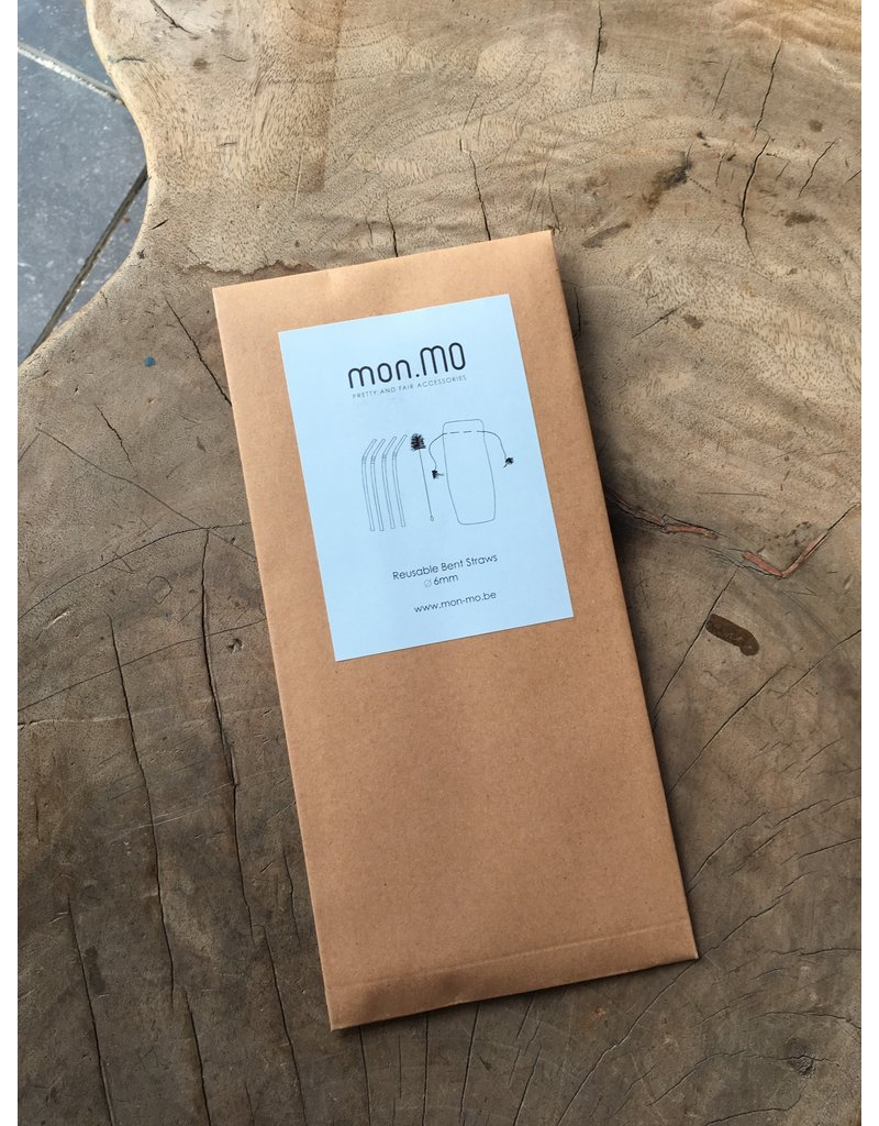 mon.MO mon.MO Herbruikbare Gebogen Rietjes - 4 pack met borstel en zakje