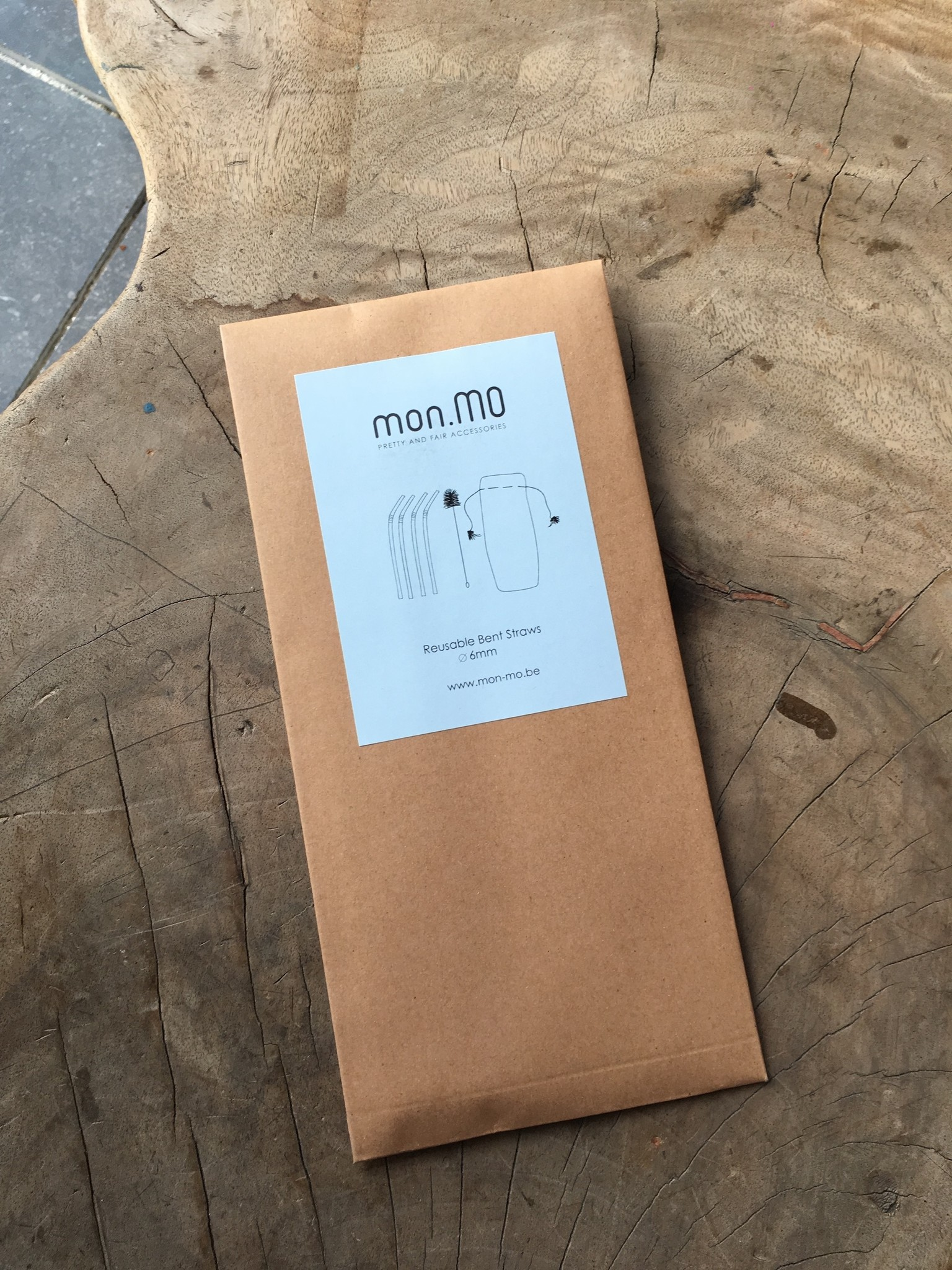 mon.MO Herbruikbare Gebogen Rietjes - 4 pack met borstel en zakje