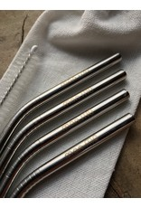 mon.MO mon.MO Reusable Bent Straws - 4 pack with brush & pouch