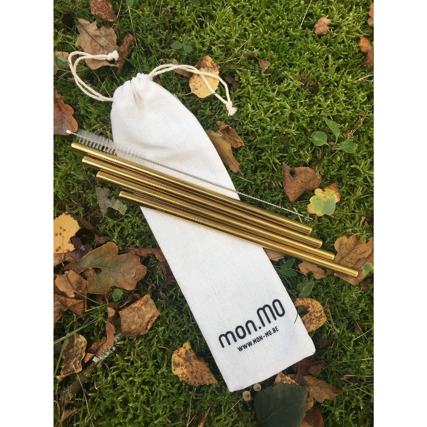 mon.MO mon.MO Reusable Smoothie Straws - GOLD - 4 pack with brush & pouch - Copy