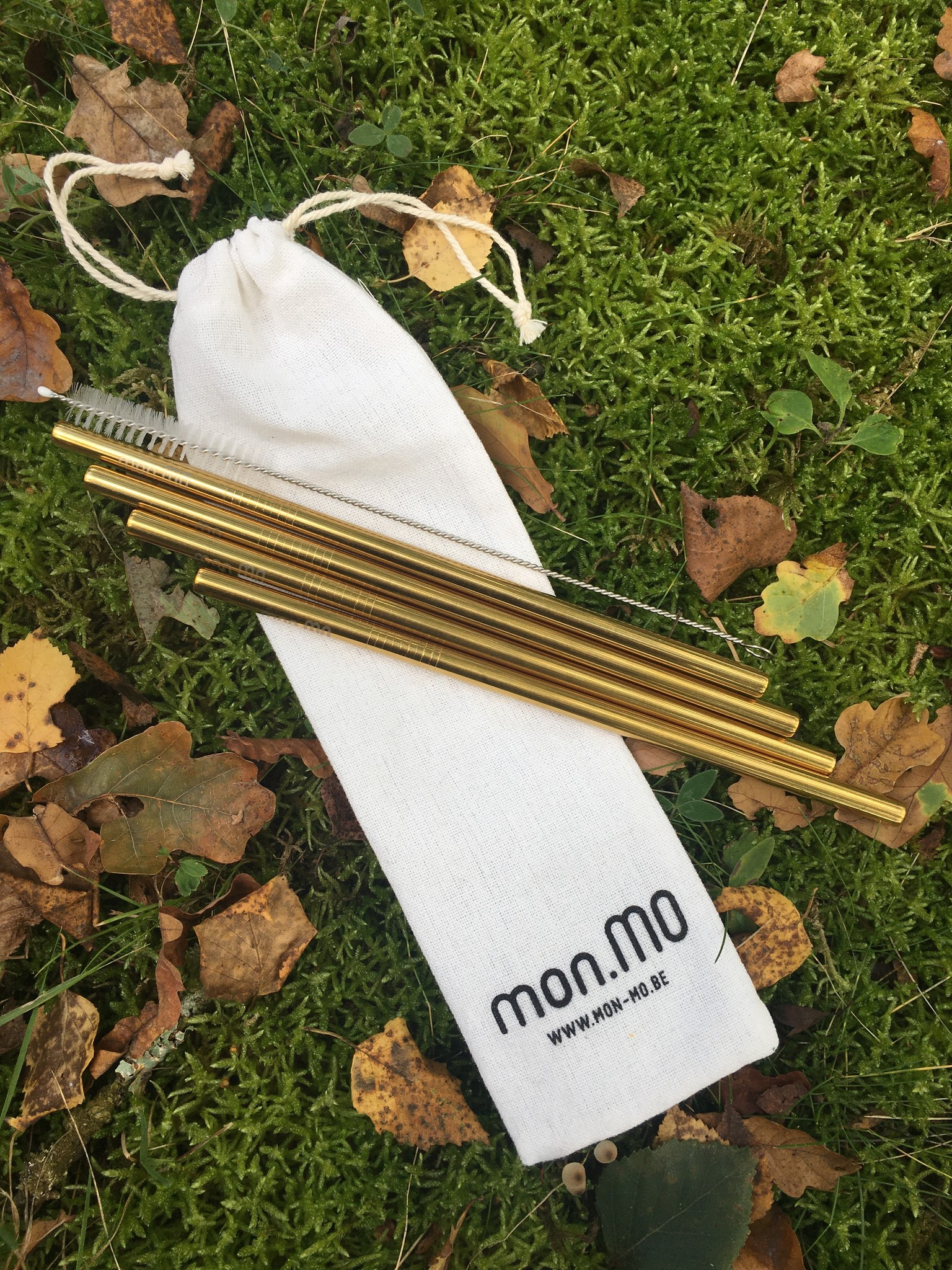 mon.MO Herbruikbare Smoothie Rietjes - GOLD - 4 pack met borstel en zakje